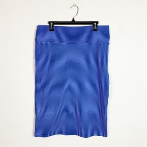 LuLaRoe Cassie Pencil Skirt Ribbed Stripe Blue XL